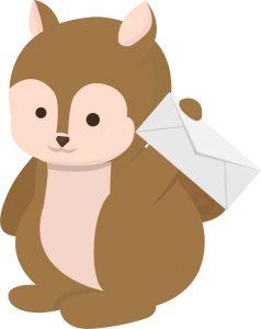 Eekhoorn met nieuwsbrief