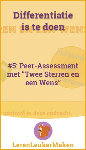 peer-assessment met twee sterren en een wens in de klas op school